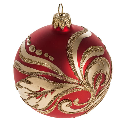 Christmas bauble with artistic gold decorations, 8cm 1