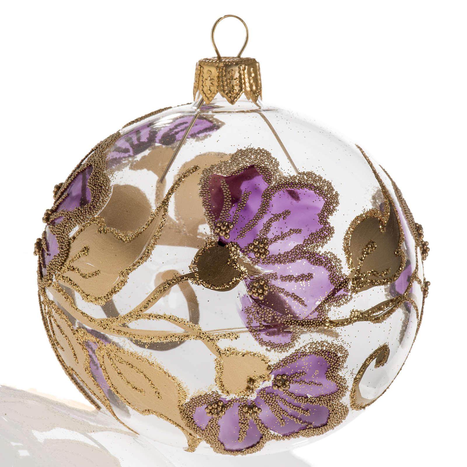 Pallina albero Natale vetro soffiato fucsia 8cm 4