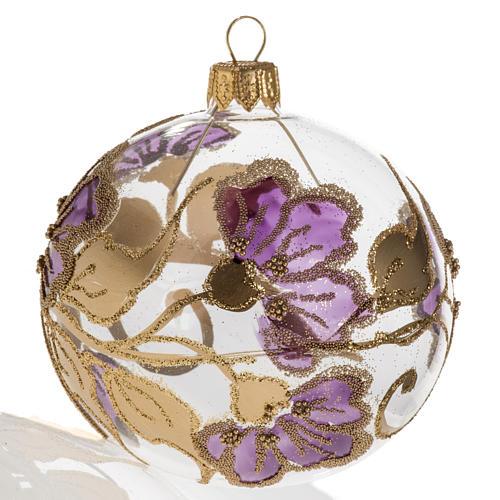 Pallina albero Natale vetro soffiato fucsia 8cm 1