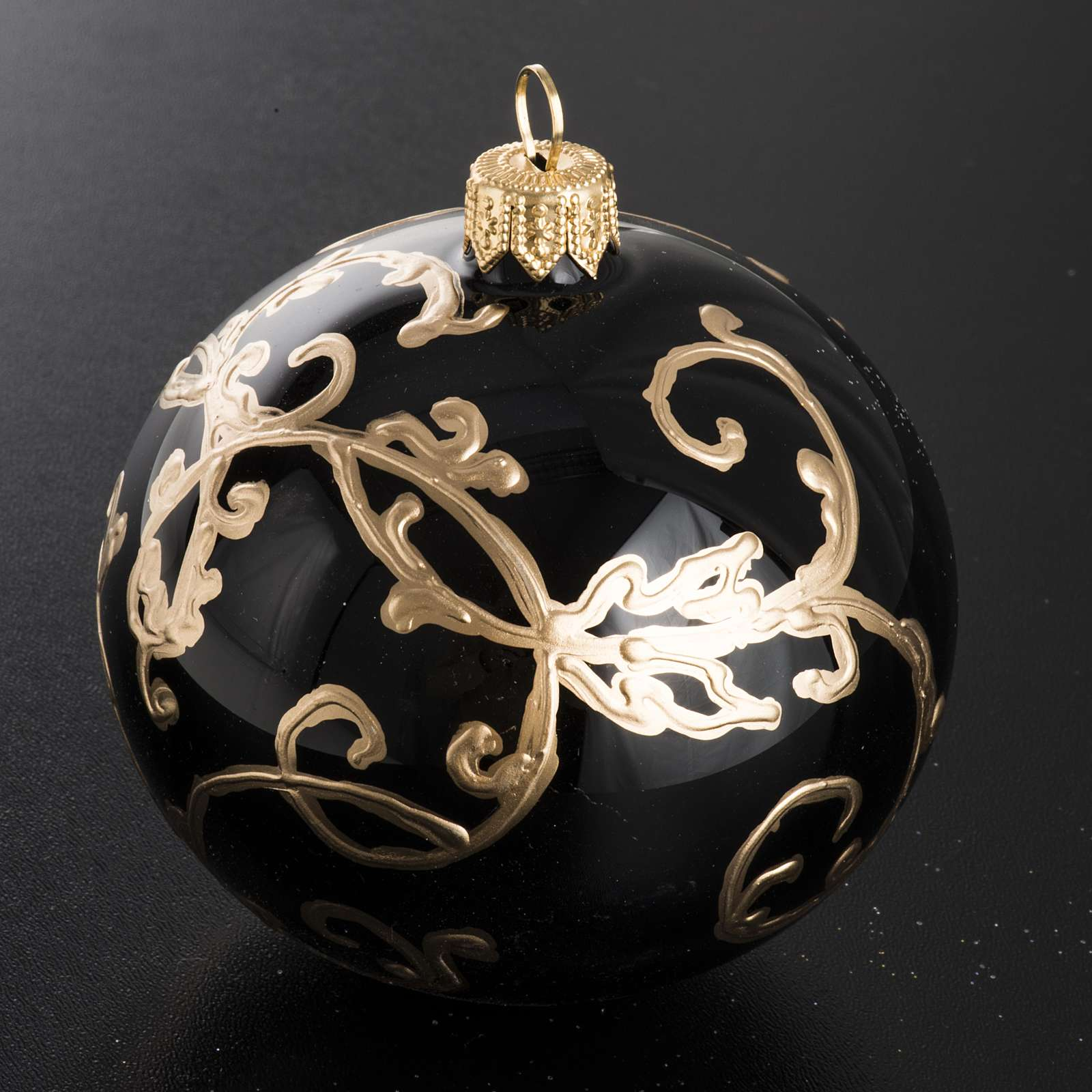 Christmas black blown glass ball ornament 8cm 4