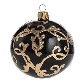 Christmas black blown glass ball ornament 8cm s1