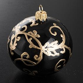 Christmas black blown glass ball ornament 8cm s2
