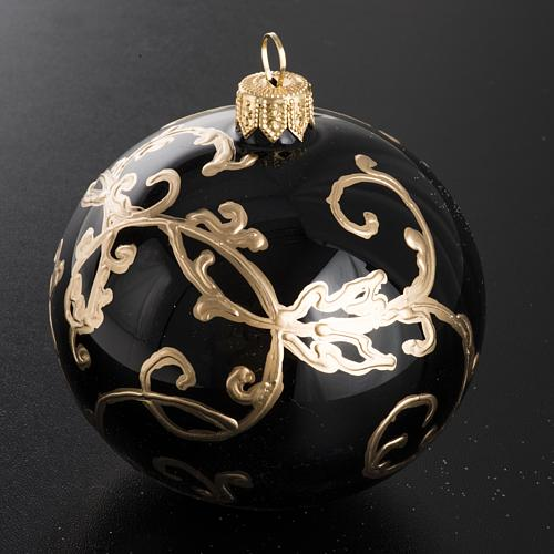 Christmas black blown glass ball ornament 8cm 2