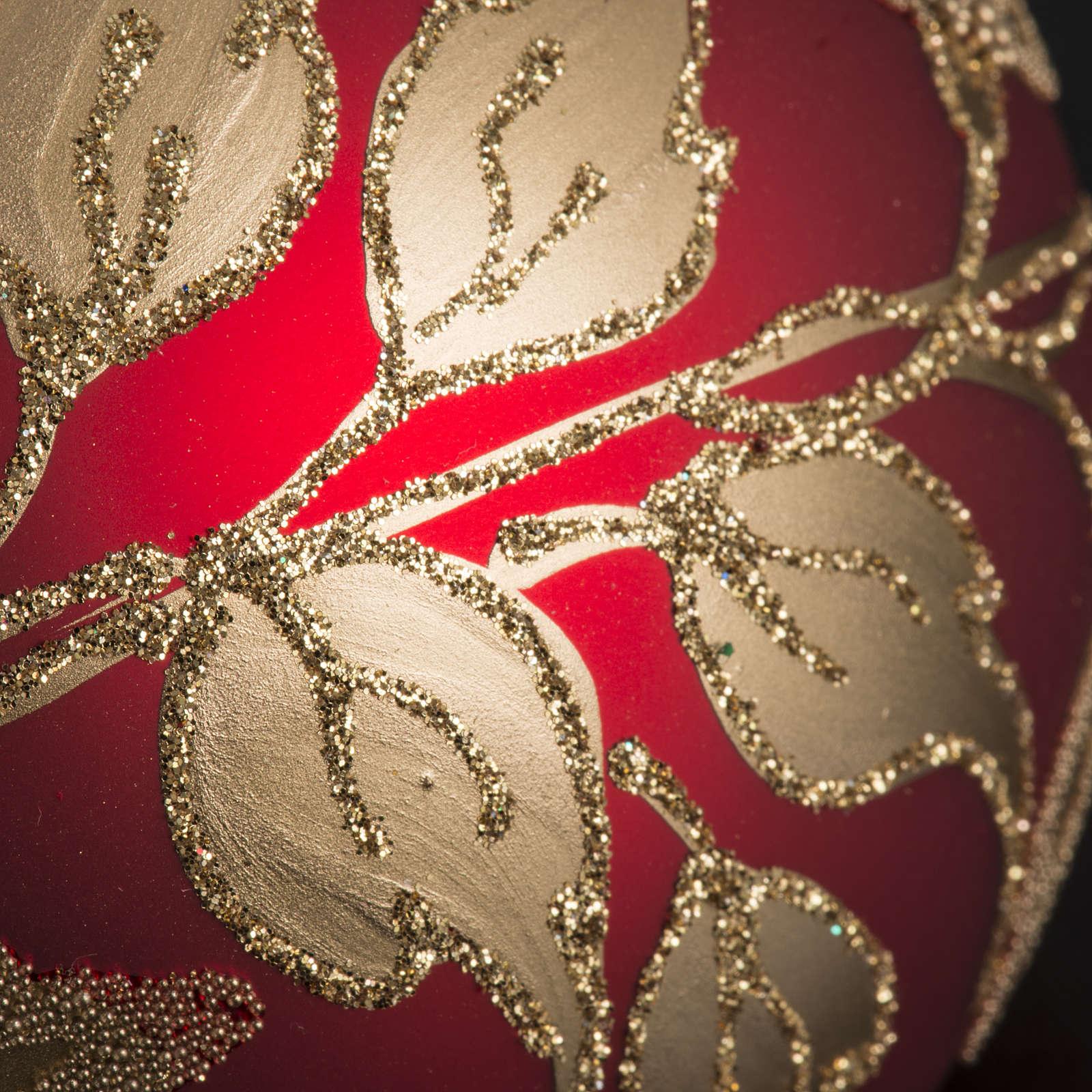 Pallina albero Natale vetro soffiato rossa oro 10cm 4