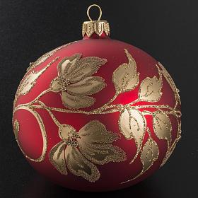 Pallina albero Natale vetro soffiato rossa oro 10cm s2