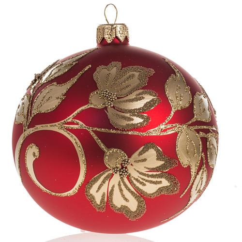 Pallina albero Natale vetro soffiato rossa oro 10cm 1