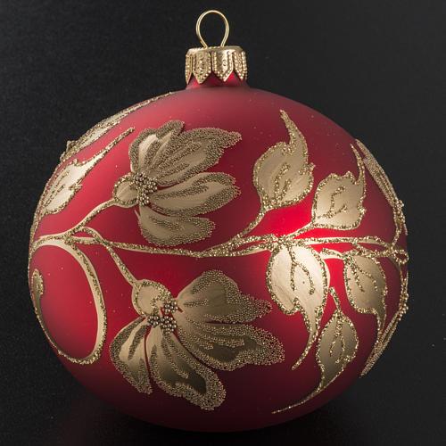 Pallina albero Natale vetro soffiato rossa oro 10cm 2