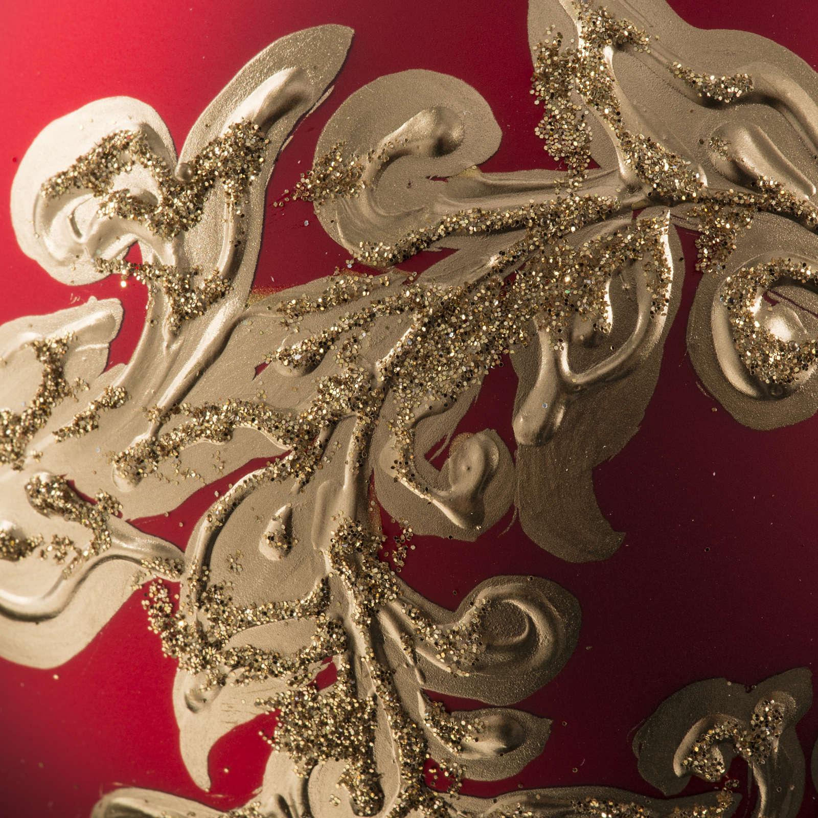 Boule de Noel rouge feuilles or 10cm 4