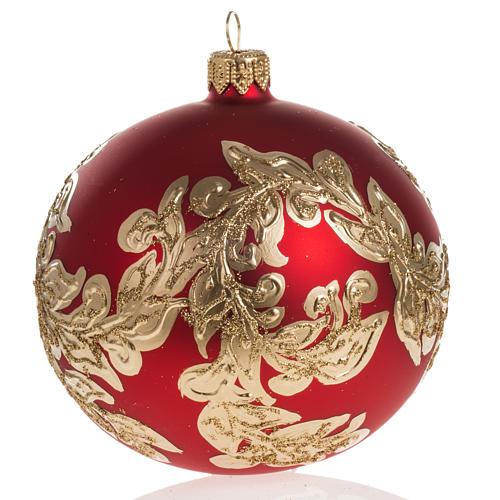 Boule de Noel rouge feuilles or 10cm 1