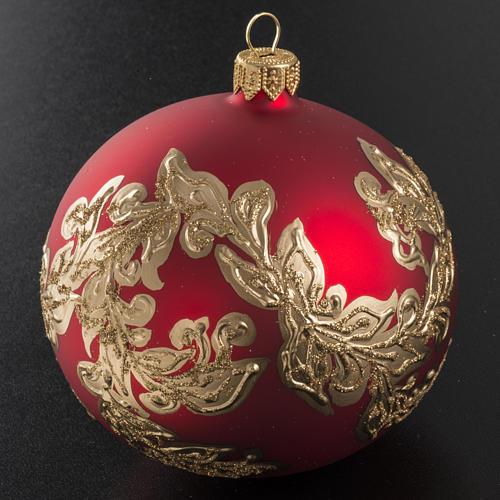 Boule de Noel rouge feuilles or 10cm 2