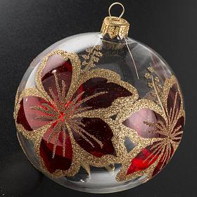 Pallina albero Natale trasparente e rossa fiori 10 cm s2