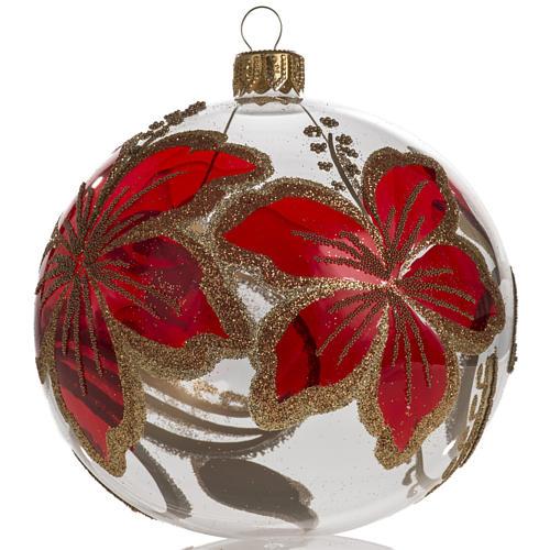 Pallina albero Natale trasparente e rossa fiori 10 cm 1