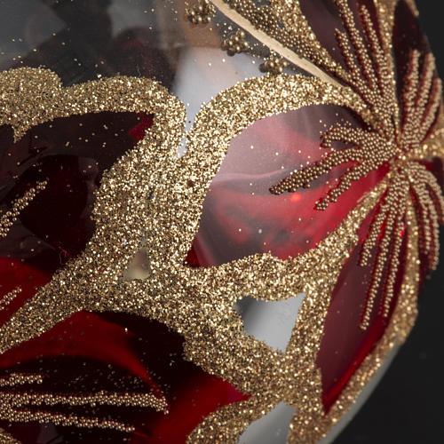 Pallina albero Natale trasparente e rossa fiori 10 cm 3