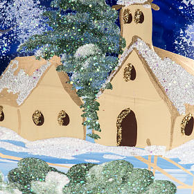 Palla albero Natale vetro paese fondo blu 15 cm s2