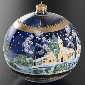 Palla albero Natale vetro paese fondo blu 15 cm s4