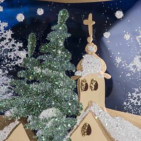 Palla albero Natale vetro paese fondo blu 15 cm s5
