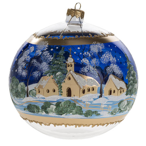 Palla albero Natale vetro paese fondo blu 15 cm 1