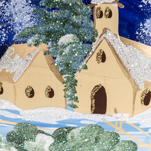 Palla albero Natale vetro paese fondo blu 15 cm 2
