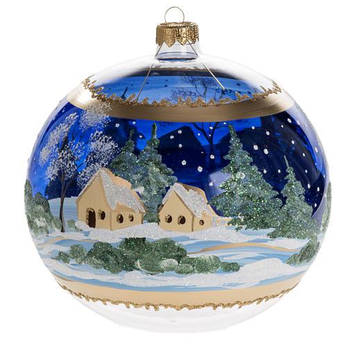 Palla albero Natale vetro paese fondo blu 15 cm 3