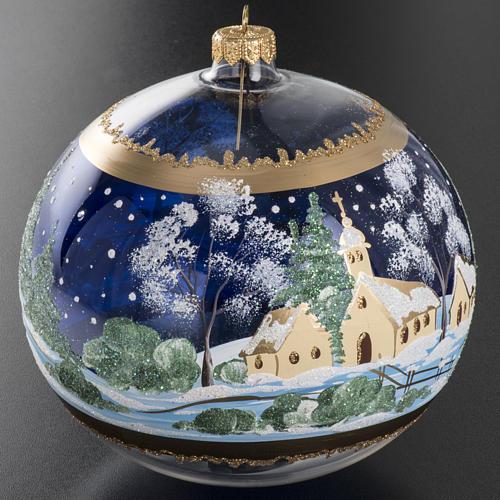 Palla albero Natale vetro paese fondo blu 15 cm 4