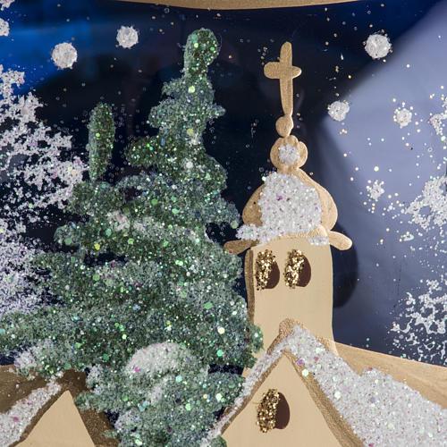 Palla albero Natale vetro paese fondo blu 15 cm 5