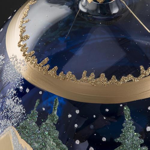 Palla albero Natale vetro paese fondo blu 15 cm 6