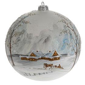 Palla albero Natale vetro paesaggio neve 15 cm s1