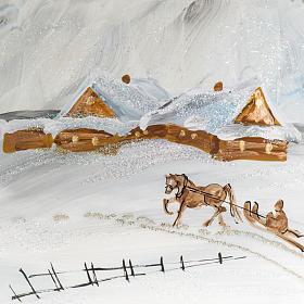 Palla albero Natale vetro paesaggio neve 15 cm s2