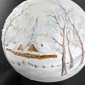 Palla albero Natale vetro paesaggio neve 15 cm s4