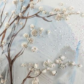 Palla albero Natale vetro paesaggio neve 15 cm s6
