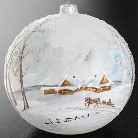 Palla albero Natale vetro paesaggio neve 15 cm s8