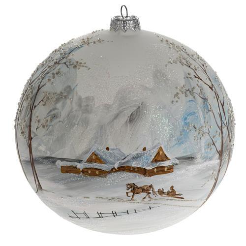 Palla albero Natale vetro paesaggio neve 15 cm 1