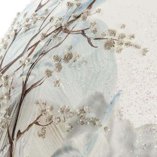 Palla albero Natale vetro paesaggio neve 15 cm 3