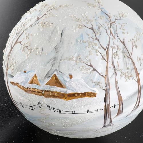 Palla albero Natale vetro paesaggio neve 15 cm 4