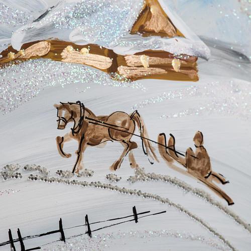 Palla albero Natale vetro paesaggio neve 15 cm 7