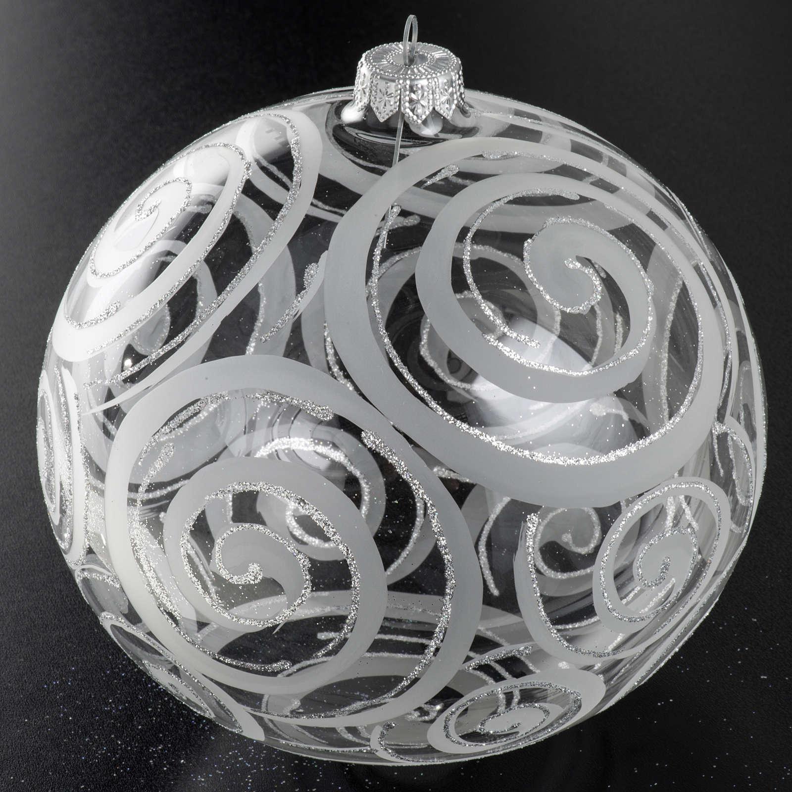Palla albero Natale vetro trasparente decori 15 cm 4