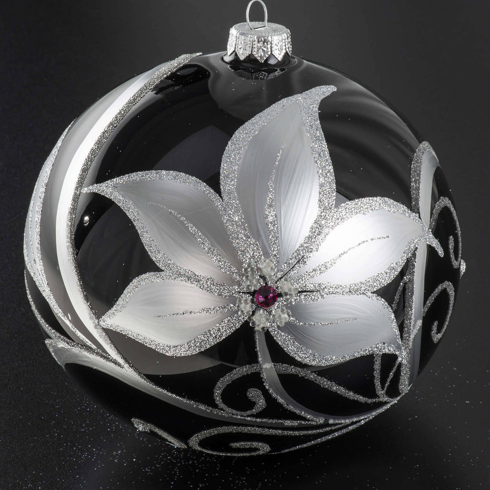 Christmas tree baubles glass black silver flowers, 15cm 4