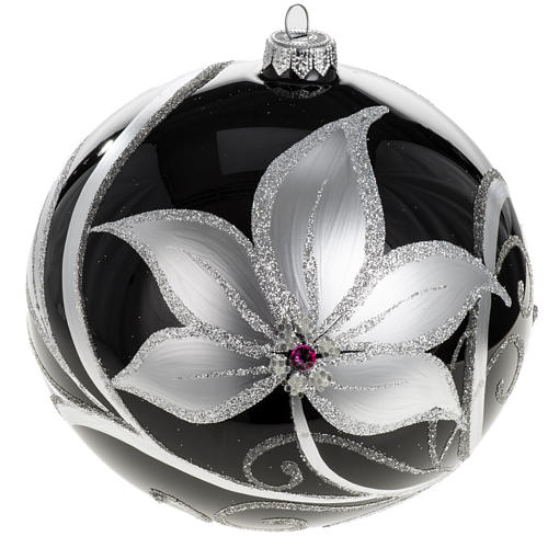 Christmas tree baubles glass black silver flowers, 15cm 1