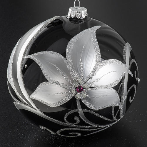 Christmas tree baubles glass black silver flowers, 15cm 2