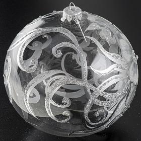 Boule de Noel transparente décors argentés 15cm s2