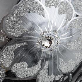 Boule de Noel transparente décors argentés 15cm s3