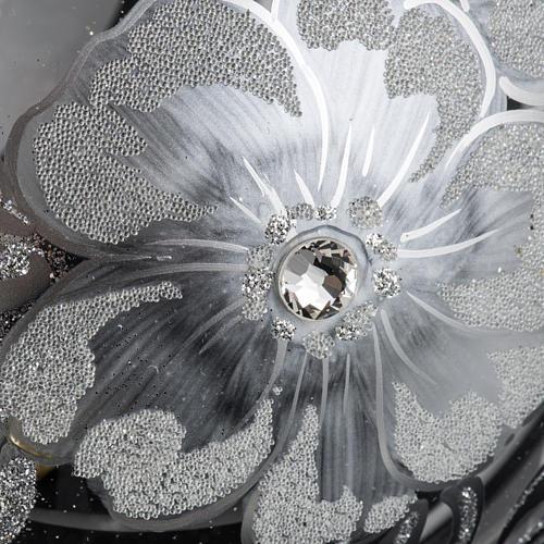 Boule de Noel transparente décors argentés 15cm 3