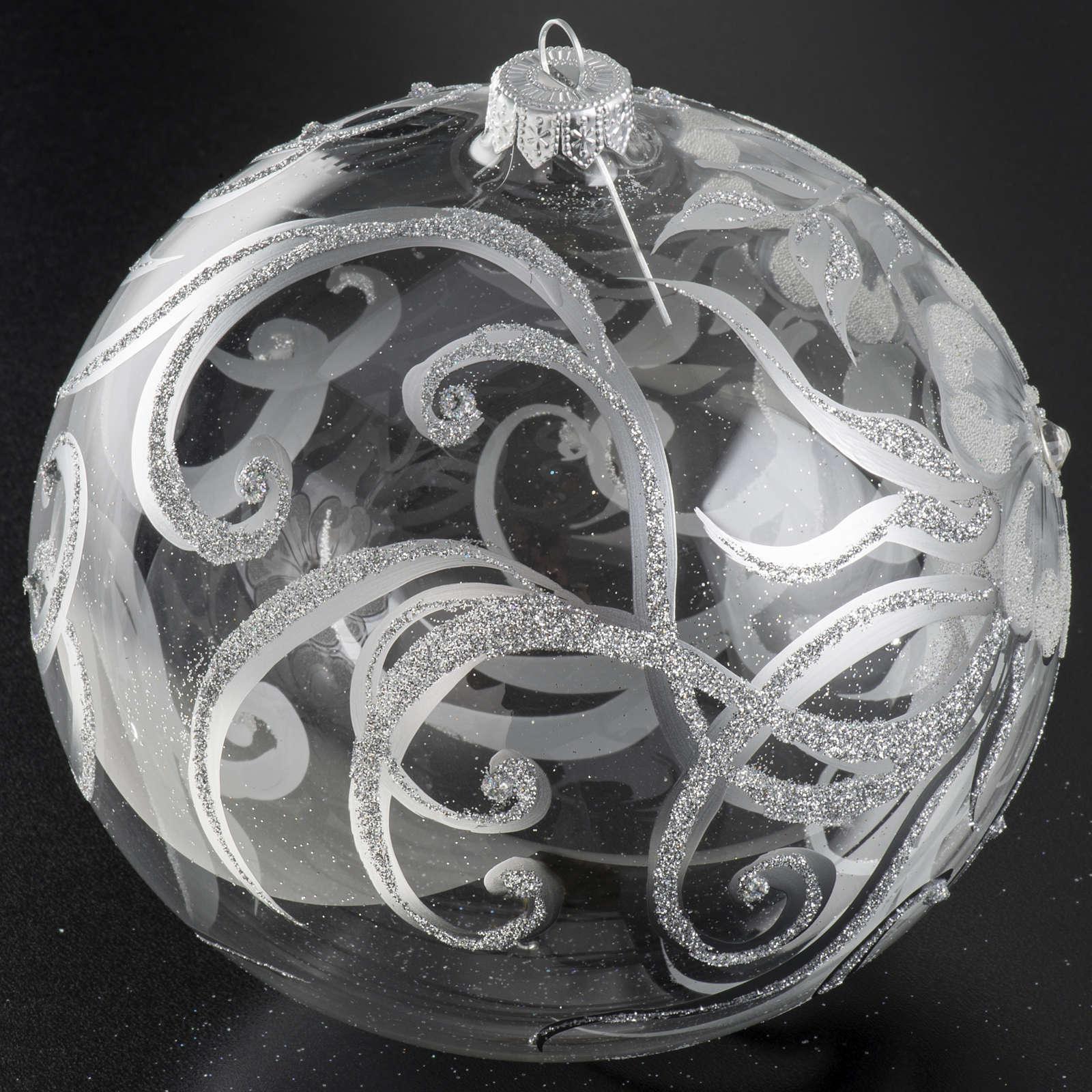Palla albero Natale vetro trasparente bianco 15 cm 4