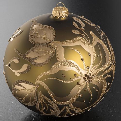 Tannenbaumkugel aus Glas mit goldenen Blumen, 15cm 2