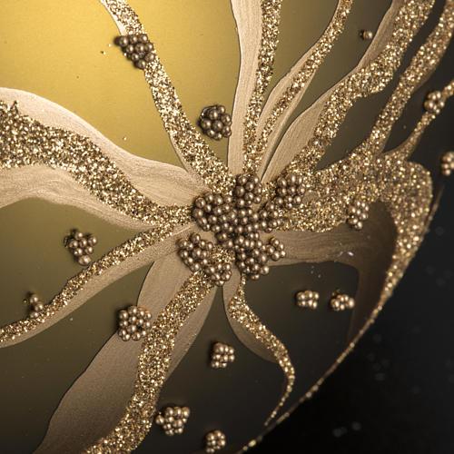 Tannenbaumkugel aus Glas mit goldenen Blumen, 15cm 3