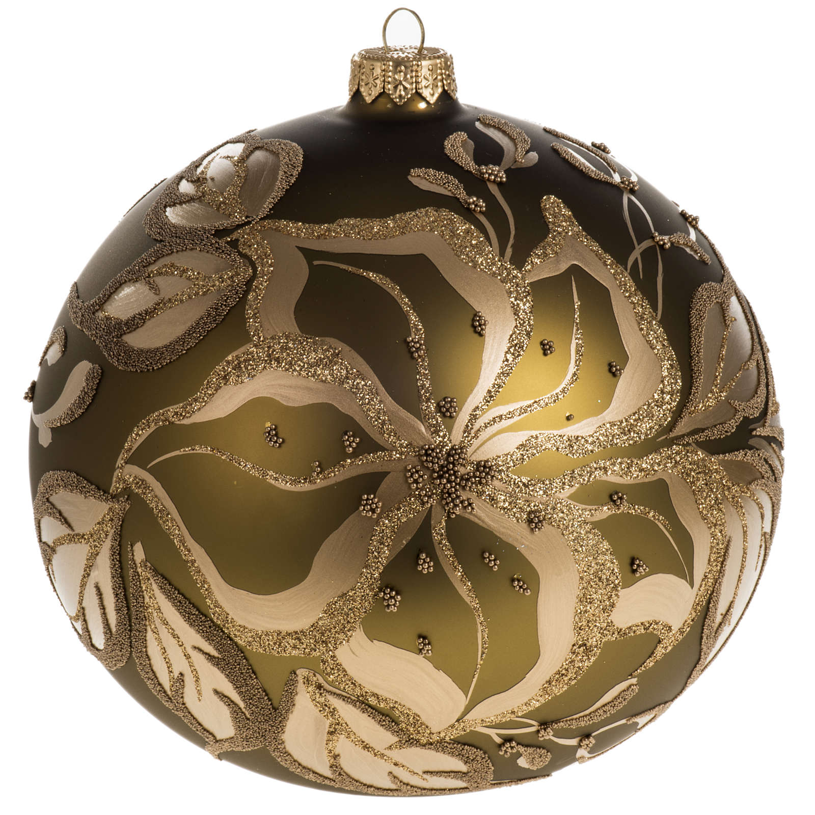 Christmas bauble, gold glass and decorations, 15cm 4