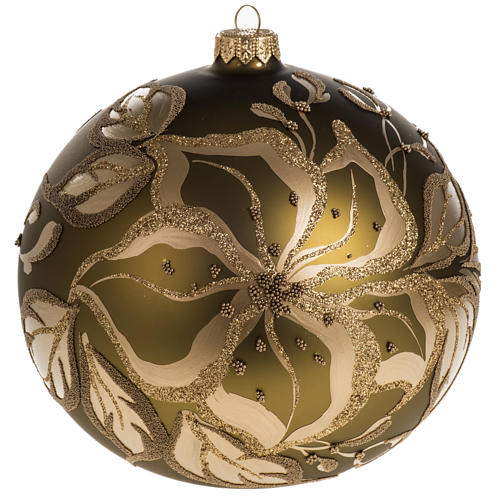 Christmas bauble, gold glass and decorations, 15cm 1