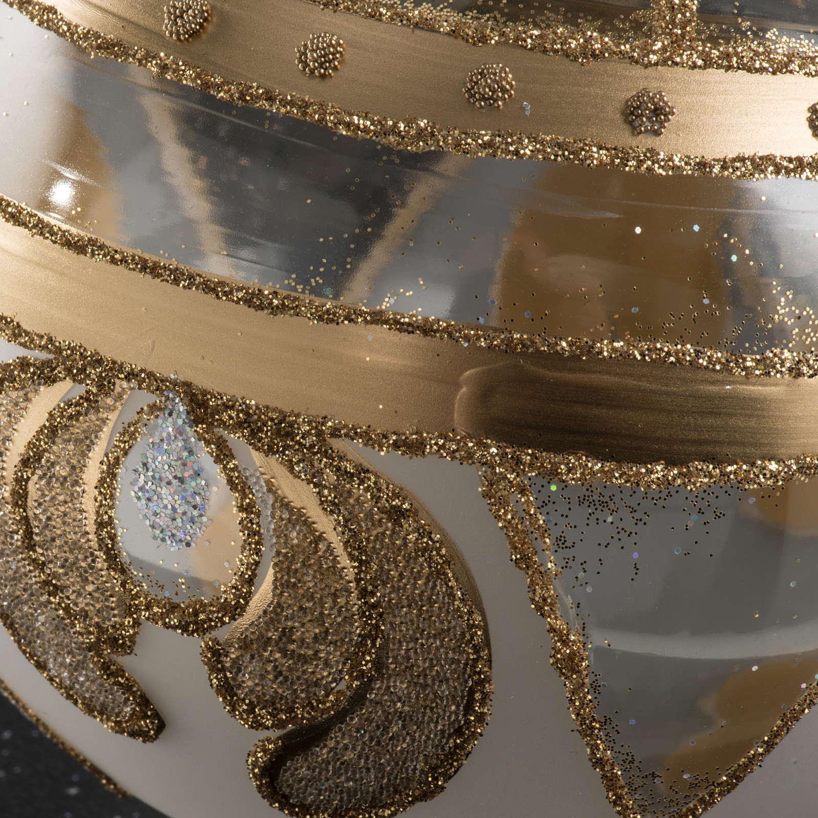 Palla albero Natale vetro trasparente oro 10 cm 4