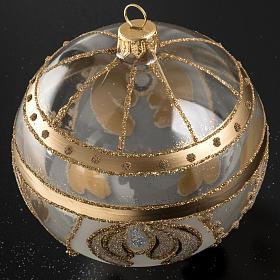 Palla albero Natale vetro trasparente oro 10 cm s2