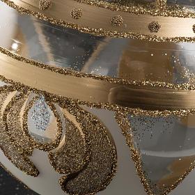 Palla albero Natale vetro trasparente oro 10 cm s3